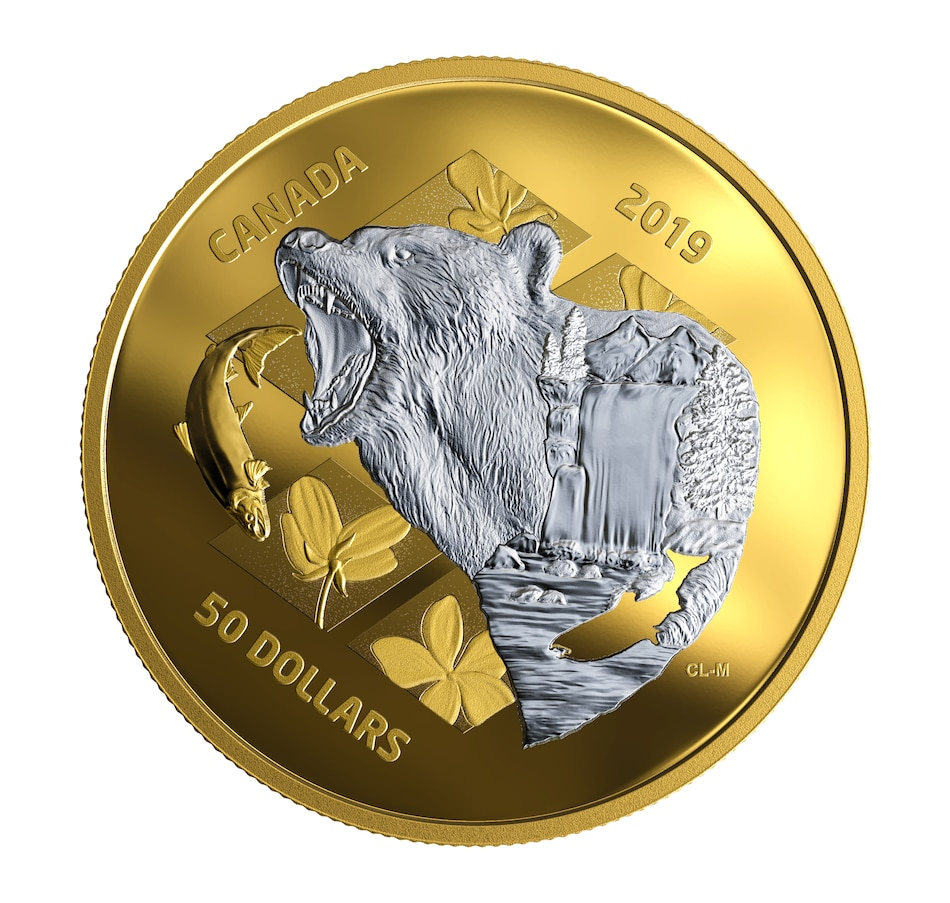 Image 667400.jpg , Product 667-400 / Price $569.95 , 2019 $50 Fine Silver Coin My Inner Nature - Grizzly Bear from Royal Canadian Mint on TSC.ca's Coins department