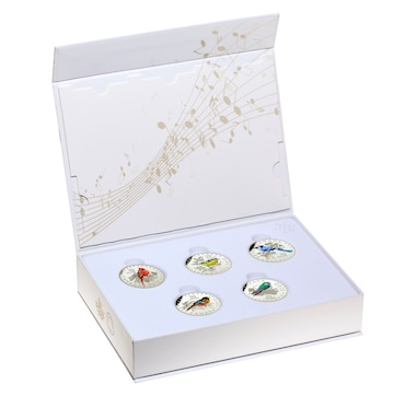 2015 $10 Fine Silver Coins Colourful Songbirds of Canada: Five-Coin Set with Musical Display Case