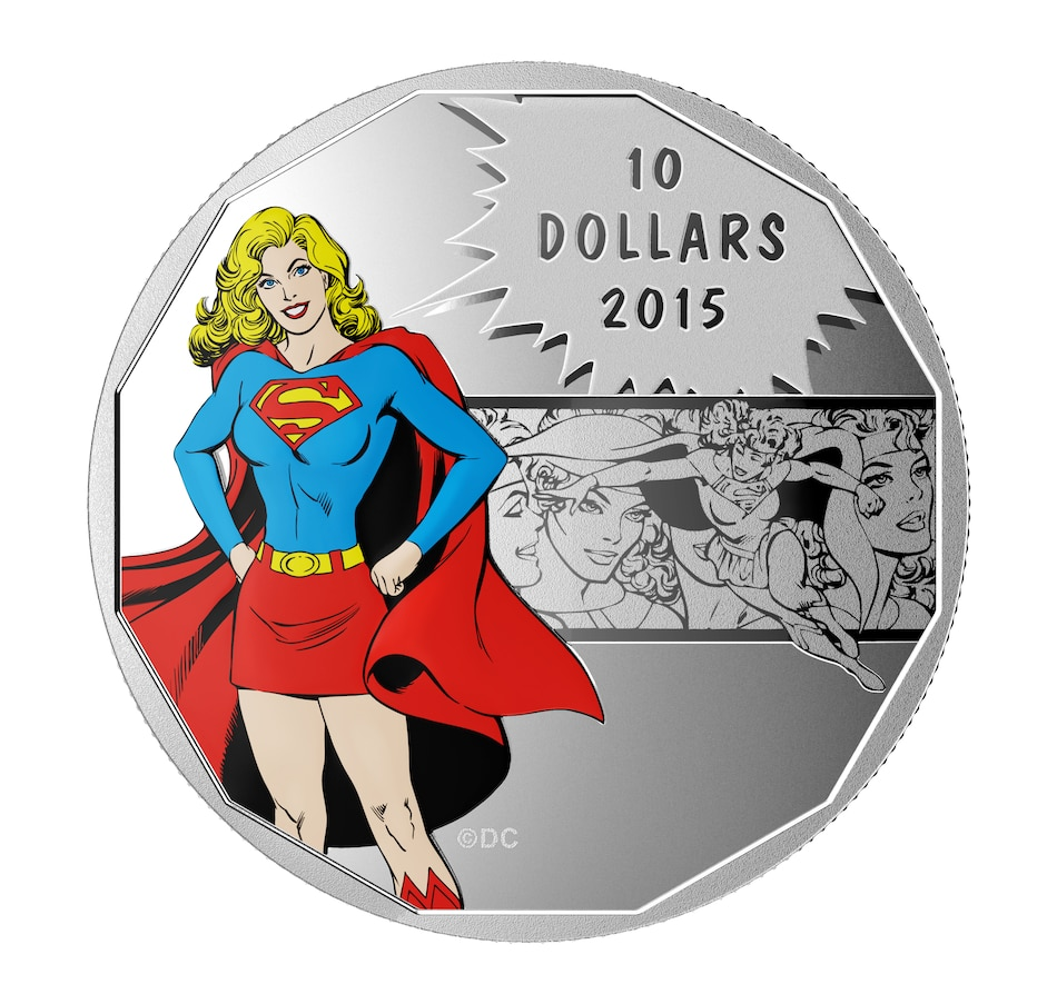 Image 667408.jpg , Product 667-408 / Price $54.95 , 2015 $10 Fine Silver Coin Supergirl DC Comics Originals: Strength from Royal Canadian Mint on TSC.ca's Coins department