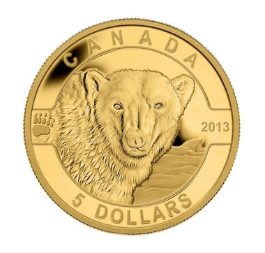 2013 $5 Pure Gold Coin: Polar Bear