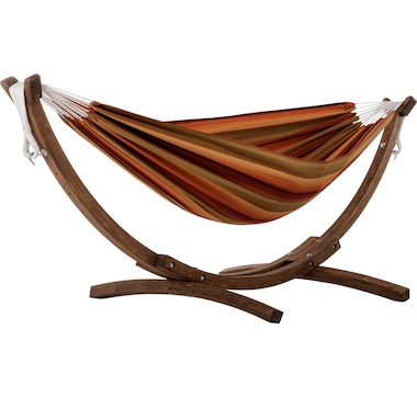 Vivere Double Sunbrella Hammock with Solid Pine Arc Stand