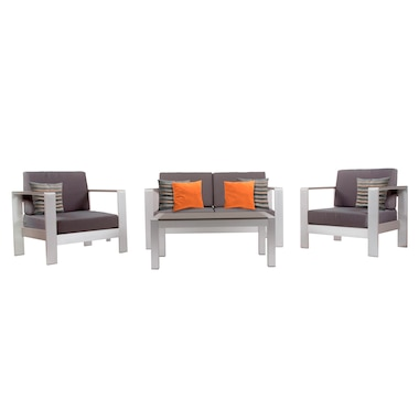 Vivere 4-Piece Conversation Set Brushed Aluminum and Sunbrella