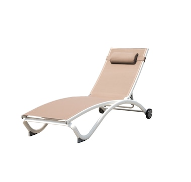 Vivere Glendale 4-Position Aluminum Pool Lounger with Wheel and Pillow