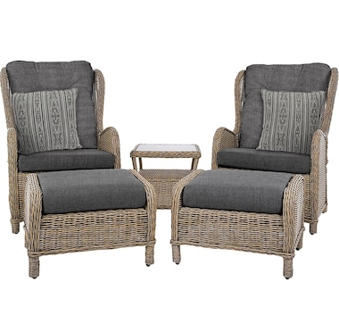 Vivere Sunbrella Southampton Rattan 5-Piece Set with Throw Pillows