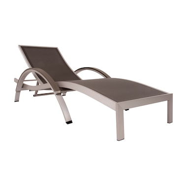 Vivere Brushed Aluminum Curved Sun Lounger