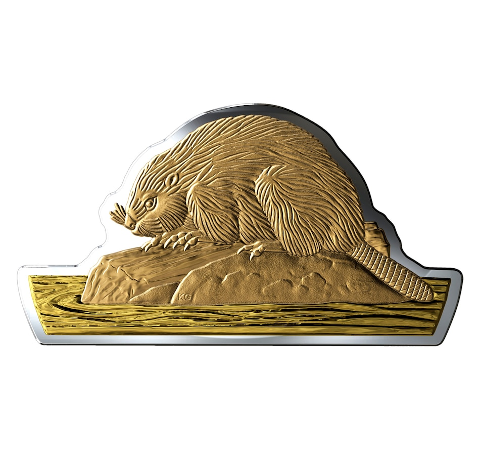 Image 674113.jpg , Product 674-113 / Price $329.95 , 2020 Three Ounce $50 Beaver Real Shape Fine Silver Coin from Royal Canadian Mint on TSC.ca's Coins department
