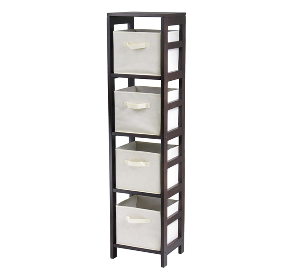 Image 674933_BGE.jpg , Product 674-933 / Price $124.95 , Capri 4-Section N Storage Shelf with 4 Foldable Fabric Baskets