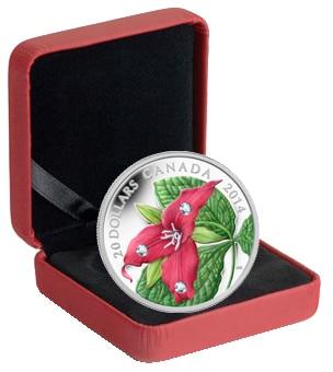 Canada 2014 Red Trillium Flower $20 Silver Proof w// Swarovski Crystal Dewdrops