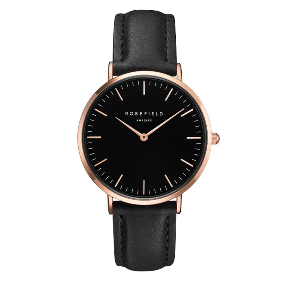 Image 679117.jpg , Product 679-117 / Price $149.00 , Rosefield - Ladies - The Bowery Black Black Rose Gold 38 mm Watch from Rosefield on TSC.ca's Jewellery department