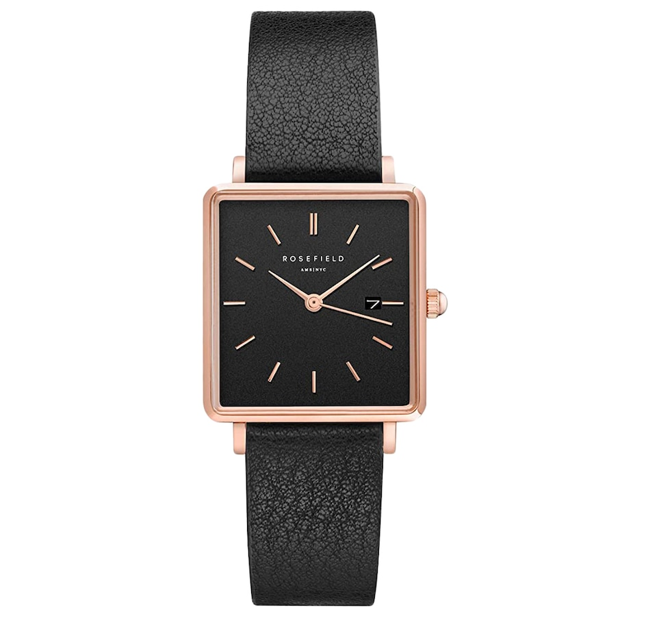 Image 679118.jpg , Product 679-118 / Price $149.00 , Rosefield - Ladies - The Boxy Black Rose Gold 26 x 28 mm Watch from Rosefield on TSC.ca's Jewellery department
