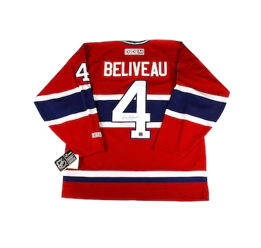 NHL Montreal Canadiens Autographed Jean Beliveau Men's Vintage Hockey Jersey
