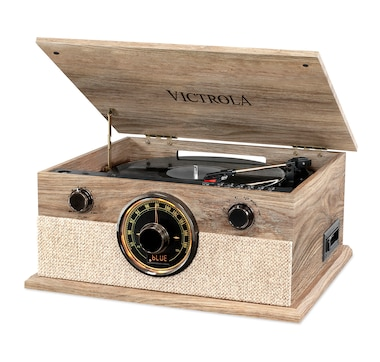 Victrola 6-in-1 Brookline Bluetooth Record Player with 3-Speed Turntable, CD, Cassette Player and AM/FM Radio