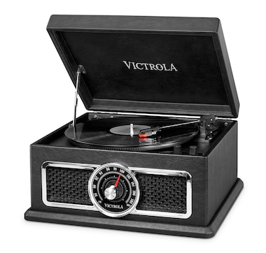 Victrola's 4-in-1 Nostalgic Plaza Bluetooth Record Player with 3-Speed Turntable and FM Radio