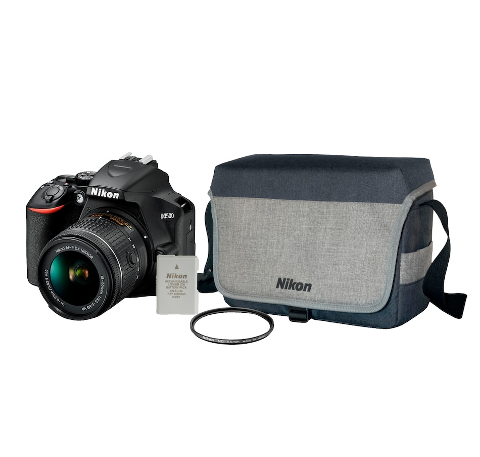 Image 691820.jpg , Product 691-820 / Price $839.99 , Nikon D3500 DSLR Camera with 18-55mm VR Lens Carry Bag, Extra Battery and Lens Filter Bundle from Nikon on TSC.ca's Electronics department