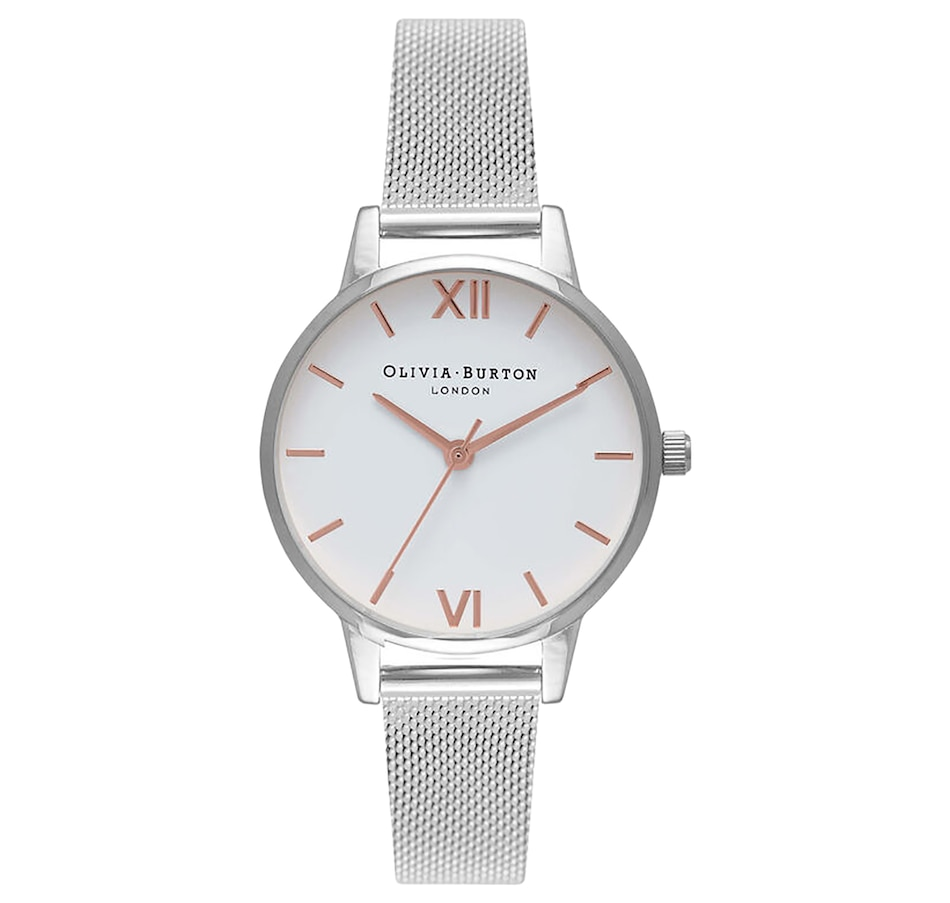 Image 697545.jpg , Product 697-545 / Price $190.00 , Olivia Burton - Ladies - Midi Dial White Dial and Silver Mesh Watch from Olivia Burton on TSC.ca's Jewellery department