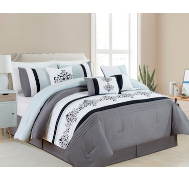 Casa Platino 7-Piece Ahalya Collection Embroidered Comforter set