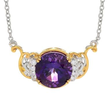 Gems En Vogue Palladium Silver Ametista Do Sul Amethyst & White Zircon Necklace