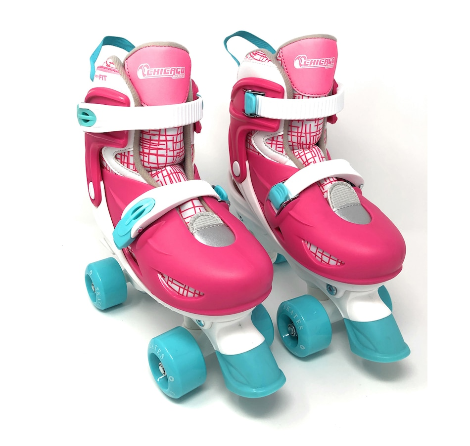 Image 702933.jpg , Product 702-933 / Price $119.99 , Chicago Skates Kids Adjustable Quad Rollerblades with Accessory Bundle (Pink)  on TSC.ca's Home & Garden department