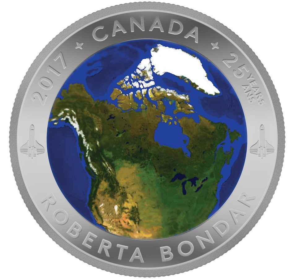 Image 703005.jpg , Product 703-005 / Price $159.95 , $25 Fine Silver Colour Convex Coin - A View from Space from Royal Canadian Mint on TSC.ca's Coins department