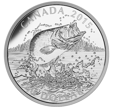$20 Largemouth Bass Fine Silver Coin North American Sportfish