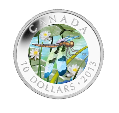 2013 $10 Holographic Dragonfly Coin Twelve-Spotted Skimmer