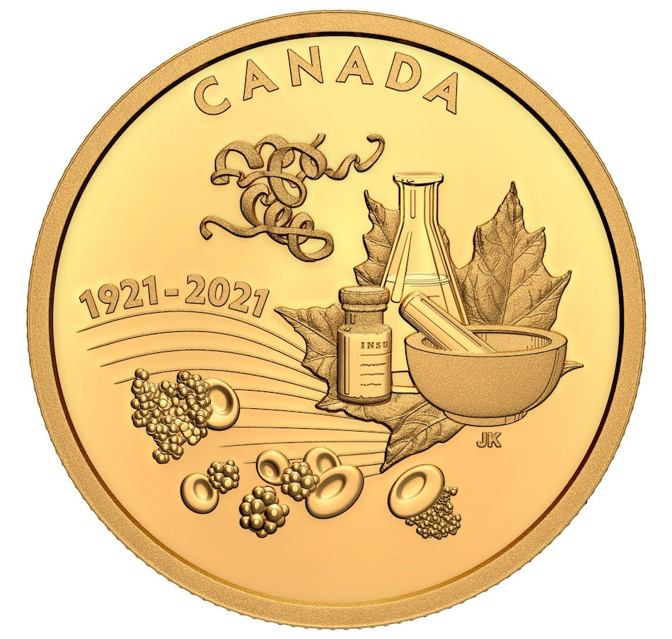 Image 703704.jpg , Product 703-704 / Price $3,999.95 , 2021 $200 Pure Gold Coin 100th Anniversary of the Discovery of Insulin from Royal Canadian Mint on TSC.ca's Coins department