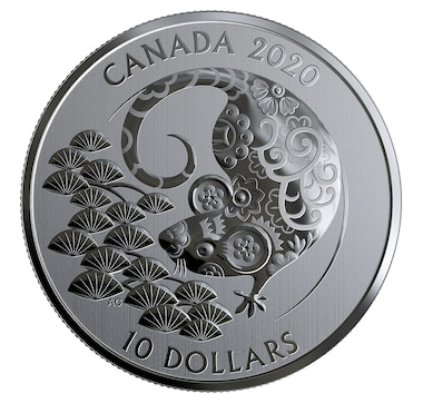 2020 $10 Fine Silver Year of the Rat Coin