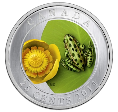 25-Cent Coloured Coin Water Lily and Leopard Frog