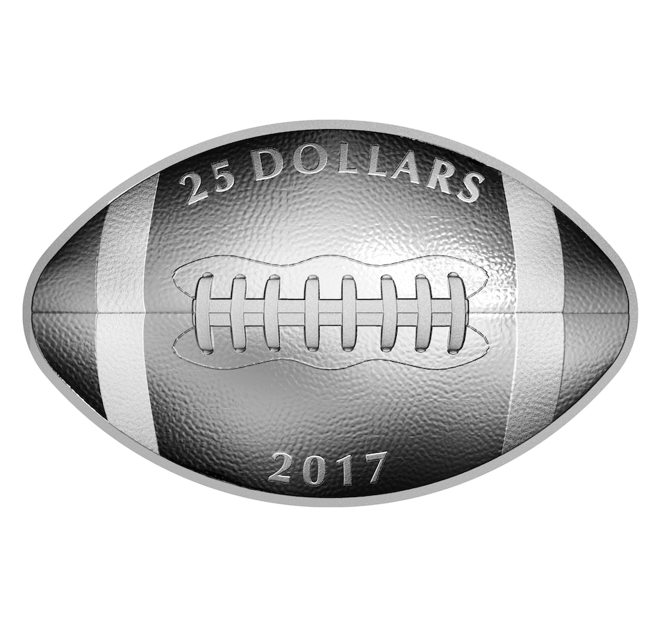 Image 705225.jpg , Product 705-225 / Price $161.95 , 2017 $25 Shaped and Curved Football Coin Fine Silver from Royal Canadian Mint on TSC.ca's Coins department